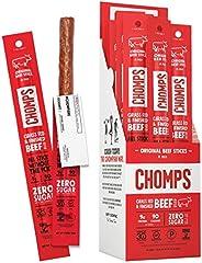 CHOMPS Grass Fed Original Beef Jerky Snack Sticks, Keto, Paleo, Whole30 Approved, Non-GMO, Gluten Free, Sugar