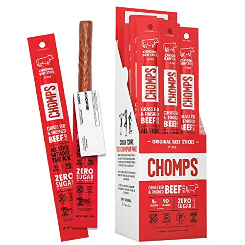 CHOMPS Grass Fed Original Beef Jerky Snack Sticks, Keto, Paleo, Whole30 Approved, Non-GMO, Gluten Free, Sugar Free, High Protein, 90 Calorie Snacks, 1.15 Oz Meat Stick, Pack Of 24
