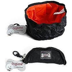 Pets Travel Bowl Portable Foldable Waterproof Ziggy Feeding Dishes for Dog Cat (M, Black)