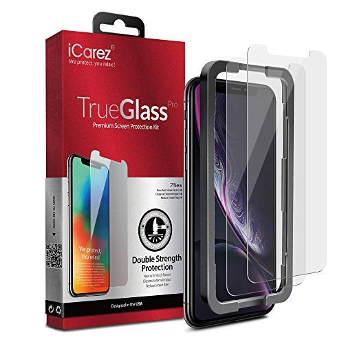 iCarez [Dubble Defense Tempered Glass + Tray Installation] Screen Protector for iPhone 11 iPhone XR 6.1-Inch (Case Friendly) Easy Apply [ 2-Pack 0.33MM 9H 2.5D Clear]