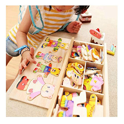 mrGood Little Bear Change Clothes Children's Early Education Wooden Jigsaw Puzzle Dressing Game Baby Wooden Puzzle Toys