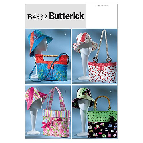 Butterick Patterns B4532 Handbags, Totes and Matching Hat, All Sizes