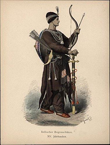 Indian bowman 16th Century w/ bow arrows sword soldier c.1875 ethnic (16th Century Swords)