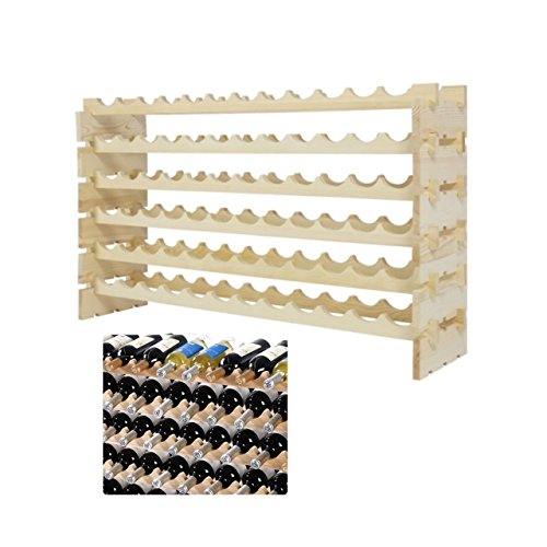 Pine Wood Wine Rack 72 Bottle Holder Stackable 6 Tier Storage Dining Room Kitchen Home Display Space-Efficient Storage Solid Construction Natural Finish - Gardens Victoria Number Phone