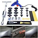 GLISTON Car Dent Puller Kit, Paintless Dent Repair Remover, Pro Slide Hammer Tools with 16pcs Thickened Black Tabs for DIY Automobile Body Hail Damage Removal