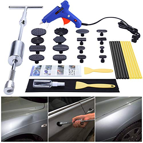GLISTON Car Dent Puller Kit, Paintless Dent Repair Remover, Pro Slide Hammer Tools with 16pcs Thickened Black Tabs for DIY Automobile Body Hail Damage Removal (Best Car Dent Removal Tool)