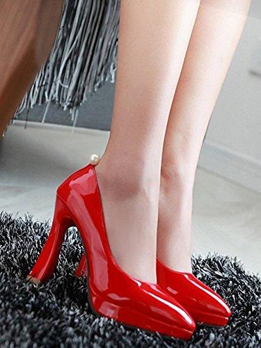 Idifu Mujeres Sexy Rhinestone Plataforma Punta Estrecha Bombas Chunky High Heels Rojo