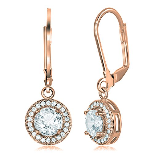 Cate & Chloe Juliana 18k Rose Gold Round Cut CZ Halo Drop Earrings, Dangling Crystal Round Cut Earring Set for Women, Cubic ZIrconia Halo Rose Gold Earrings, Wedding Anniversary Jewelry