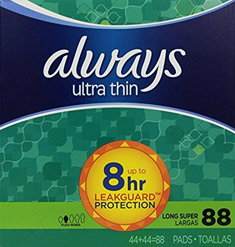 Always Ultra Thin Feminine Pads with Wings, Long/Super, Unscented, 88 Count
