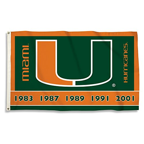 NCAA Miami Hurricanes 3 X 5 Foot Flag with Grommets, Green/Orange, ()