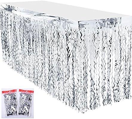 Leegleri falda de mesa de plástico metálico con flecos para fiesta ...