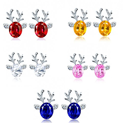 Sugely Christmas Earrings Gift Three Dimensional Christmas Reindeer Antlers Earing Xmas Crystal Gemstone Earrings (1 Pair, Blue)