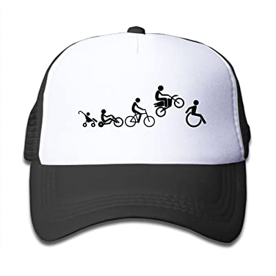 Ooiilpe Children's Grid Cap Evolution of A Rider Dirt Bike Motocross Funny Shi Kid's Cute Cool Fitted Mesh Cap with Adjustable Snapback Strap Hat