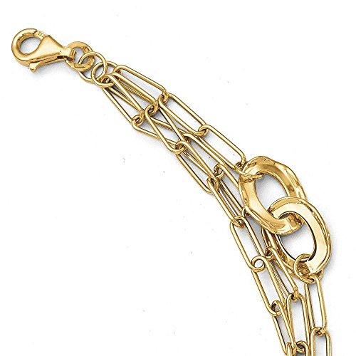 Or 14carats-Bracelet-Trois Couche poli-20cm