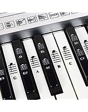 Piano- och tangentbordsmusik komplett uppsättning klistermärken för vita och svarta tangenter; transparent och avtagbar, för enkla pianolektioner