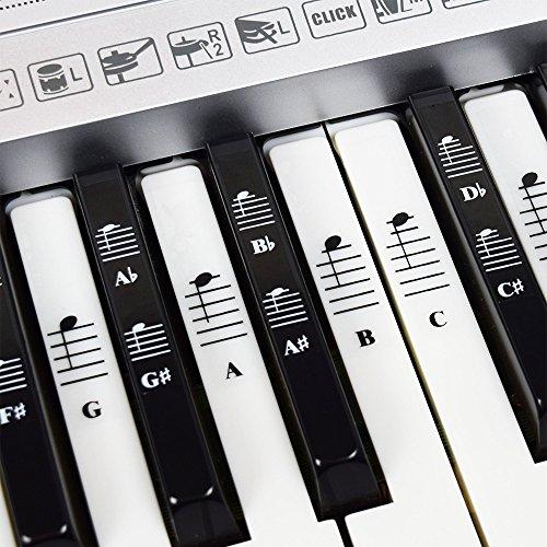Pegatinas de conjunto completo para notas de música para piano y teclado para teclas blancas y negras con canciones de piano EBook; Transparente y extraíble! Hecho en EE.UU