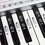 Piano and Keyboard Music Note Full Set Stickers for White and Black Keys with Piano Songs EBook; Transparent and Removable! Made in USA