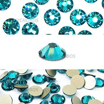 BLUE ZIRCON (229) teal Swarovski NEW 2088 XIRIUS Rose 20ss 5mm flatback No-Hotfix rhinestones ss20 144 pcs (1 gross) from Mychobos (Crystal-Wholesale)