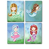 Lone Star Art Mermaids - Set of Four Photos (8x10) Unframed for Kids Great Nursery or Child's Room Decor