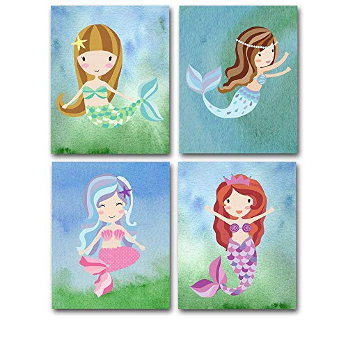 Lone Star Art Mermaids - Set of Four Photos (8x10) Unframed for Kids Great Nursery or Child's Room Decor by Lone Star Art