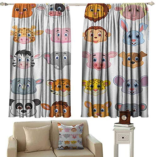 GUUVOR Cartoon 99% Blackout Curtains Kids Themed Baby Cute Animals Lions Pigs Cows Farm Safari Baby Nursery Room Image for Bedroom Kindergarten Living Room W52 x L63 Inch Multicolor ()