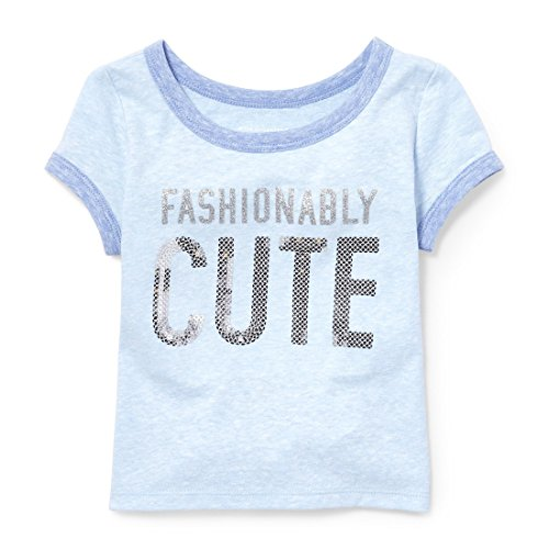 The Children's Place Baby Girls Short Sleeve Fashion Top, Party Blue 3554, 3T -