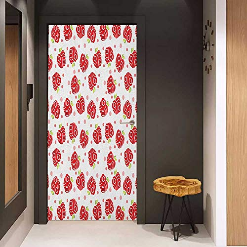 Onefzc Glass Door Sticker Decals Apple Geometric Shapes Patterned Apples Curves and Circles on Dotted Background Door Mural Free Sticker W30 x H80 Blush Red Apple Green ()