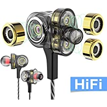 WZK In-ear Headphones Earbuds High Resolution Heavy Bass with Mic for Smart Android Cell Phones Samsung HTC Lg G4 G3 Mp3 Mp4 Earphones (black)