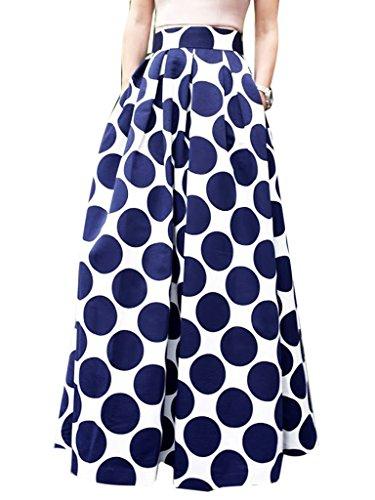 Clothink Women White Pleated Vintage Polka Dot Maxi Skirt for sale