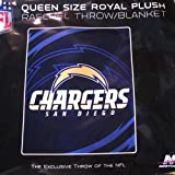 "NFL San Diego Chargers Queen Size 78""x94"" Plush Throw/Blanket"