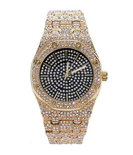 - Bling-ed Out 40mm Octagonal Dial CZ Gold Watch with Tapered Band and Black Dial | Japan Movement | Simulated Lab Diamonds