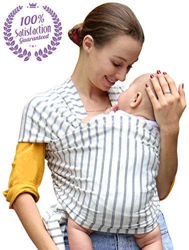 Bonne Vie Baby Wrap Carrier for Newborn, Infants & Toddlers - Lightweight & Breathable Cotton Sling for Men & Women - Baby Wearing Made Easy - Boy Girl Baby Shower ()