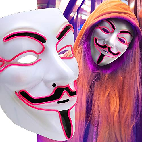 Scary Mask Halloween Light Up Mask EL Wire V for Vendetta Cosplay Led Costume Mask Fawkes Anonymous for Festival Parties