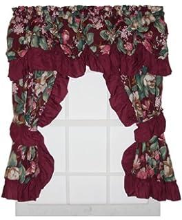 magnolia floral print ruffled window curtain wine burgundy