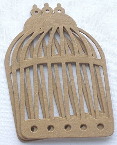 3 BIRD CAGE - Primitive Vintage Bare Chipboard Die Cuts - 2 1/2