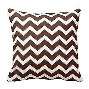 Chocolate Brown Chevron Stripe Pillow Covers 16 x 16