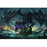 Fantasy Canvas wall Art Print Ready To Hang Large Fantasy Purple Dragon 30