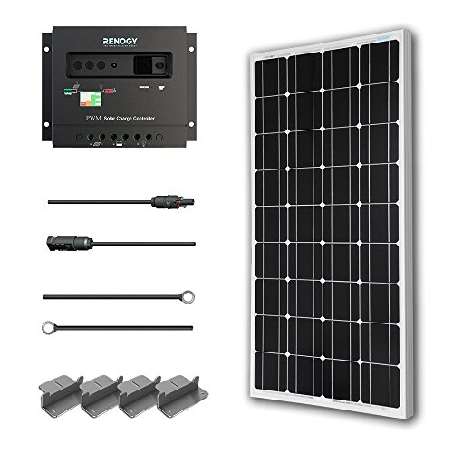 - Renogy 100 Watts 12 Volts Monocrystalline Solar Starter Kit w/100W Solar Panel + 30A PWM Negative ground Charge Controller + MC4 Connectors +Tray Cable+ Mounting Z Brackets for RV, Boat