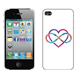 Fincibo (TM) Apple iPhone 4 4S Back Cover Hard Crystal Plastic Protector Case - Love Infinity