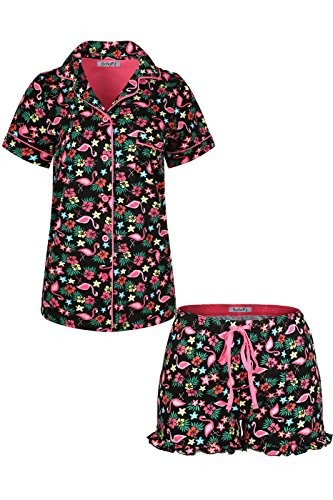(SofiePJ Women's Printed Cotton Short Sleeve Notch Collar Button-Down Pajama Shirt & Short Pants Set Black XL)