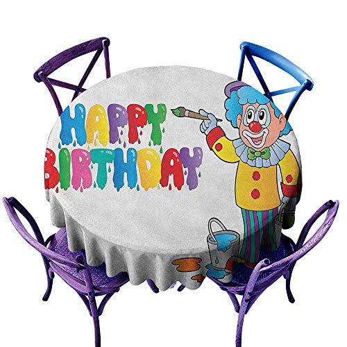 ONECUTE Washable Round Tablecloth,Kids Birthday Happy Clown for Party with Colorful Painting Drawing Style Buckets Print,Stain Resistant, Washable,47 INCH Multicolor