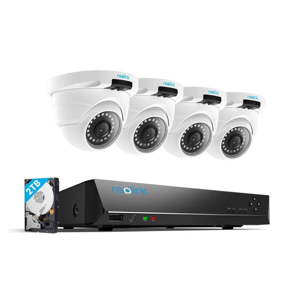 Reolink 4MP 8CH PoE Video Surveillance System, 4 x Wired Outdoor 1440P PoE IP Cameras, 5MP/4MP Supported 8 Channel NVR Security System w/ 2TB HDD for 7/24 Recording RLK8-420D4