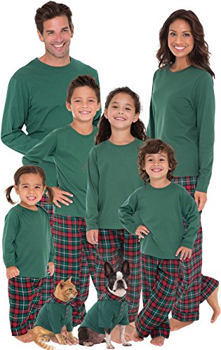PajamaGram Red and Green Plaid Matching Family Christmas Pajamas Green Women 's Small / 4-6
