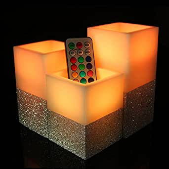 Flameless Candles Real Wax Scented LED Colorful Candles, Remote & Timer Battery Operated Square Tea Light