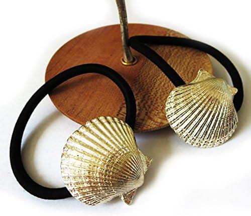 2個セット貝殻ヘアクゴム ゴールドカラー シェルモチーフ ヘアアクセサリー