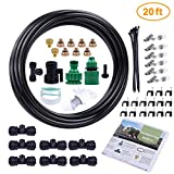 MIXC Outdoor Mist Cooling System Fan Misting Kit Animal Plants Swimming Pool Cooler 20ft 1/4inch Tube Hose Pipe 7 Brass Metal Nozzles Jets Misters Water Filter Patio Garden Home Irrigation