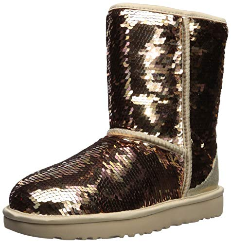 UGG Women's W Classic Short Sequin Fashion Boot, Gold Combo, 7 M US