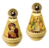 Ceramic Holy Water Bottle Container Madonna and Child Baptism 4 Inch