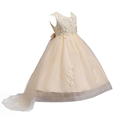 680c50486 IBTOM CASTLE Flower Girls' Applique Hi-Lo Formal Communion Pageant Lace  Tulle Dresses for