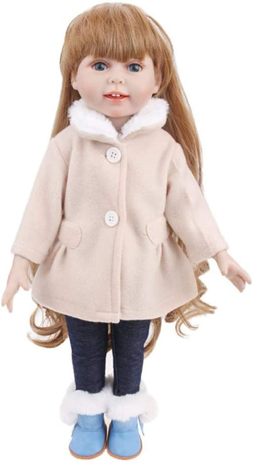 2pcs//set Uteruik Doll Clothes for 46cm//18in Girl Dolls Winter Casual Outfits Beige Long Sleeve Coat and Pants Costume Accessory